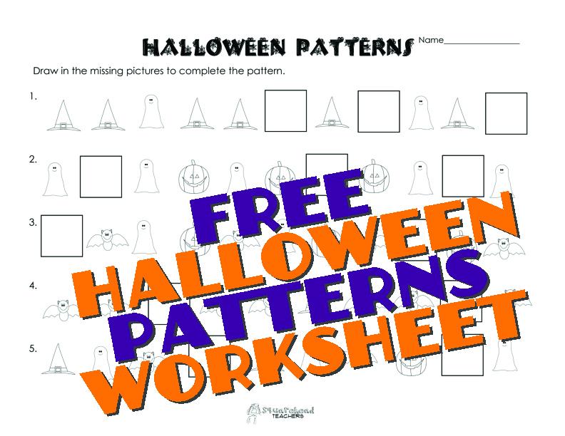 halloween patterns worksheet free squarehead teachers. Black Bedroom Furniture Sets. Home Design Ideas