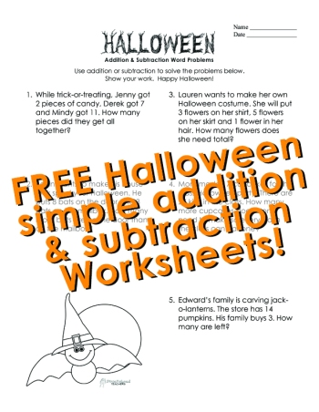 Halloween- simple add sub word prob- STICKER 1