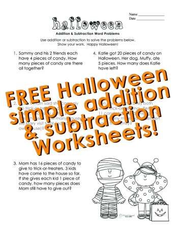 Halloween- simple add sub word prob- STICKER 2