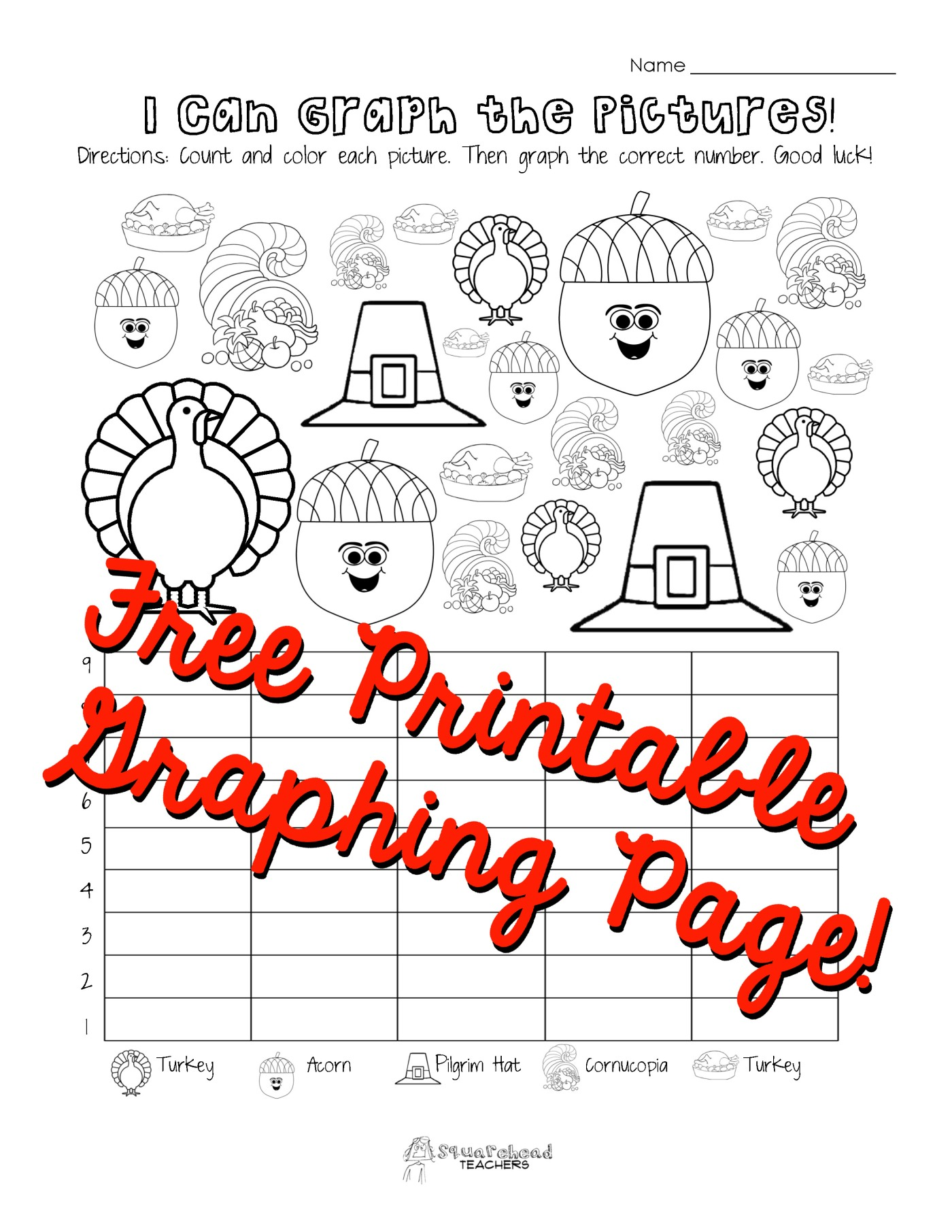 Worksheet Graphing For Kindergarten thanksgiving graphing page kindergarten first grade squarehead teachers