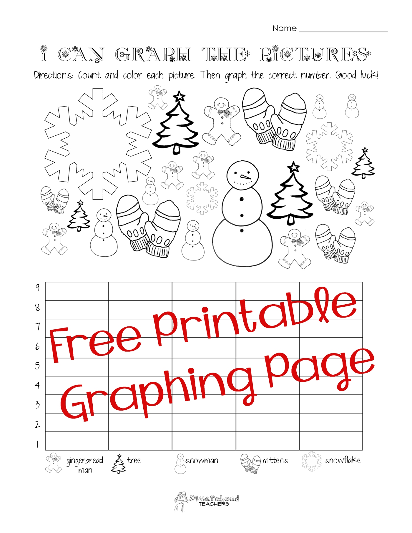 Free ChristmasWinter Graphing Worksheet Kindergarten First – Graph Worksheets for Kindergarten