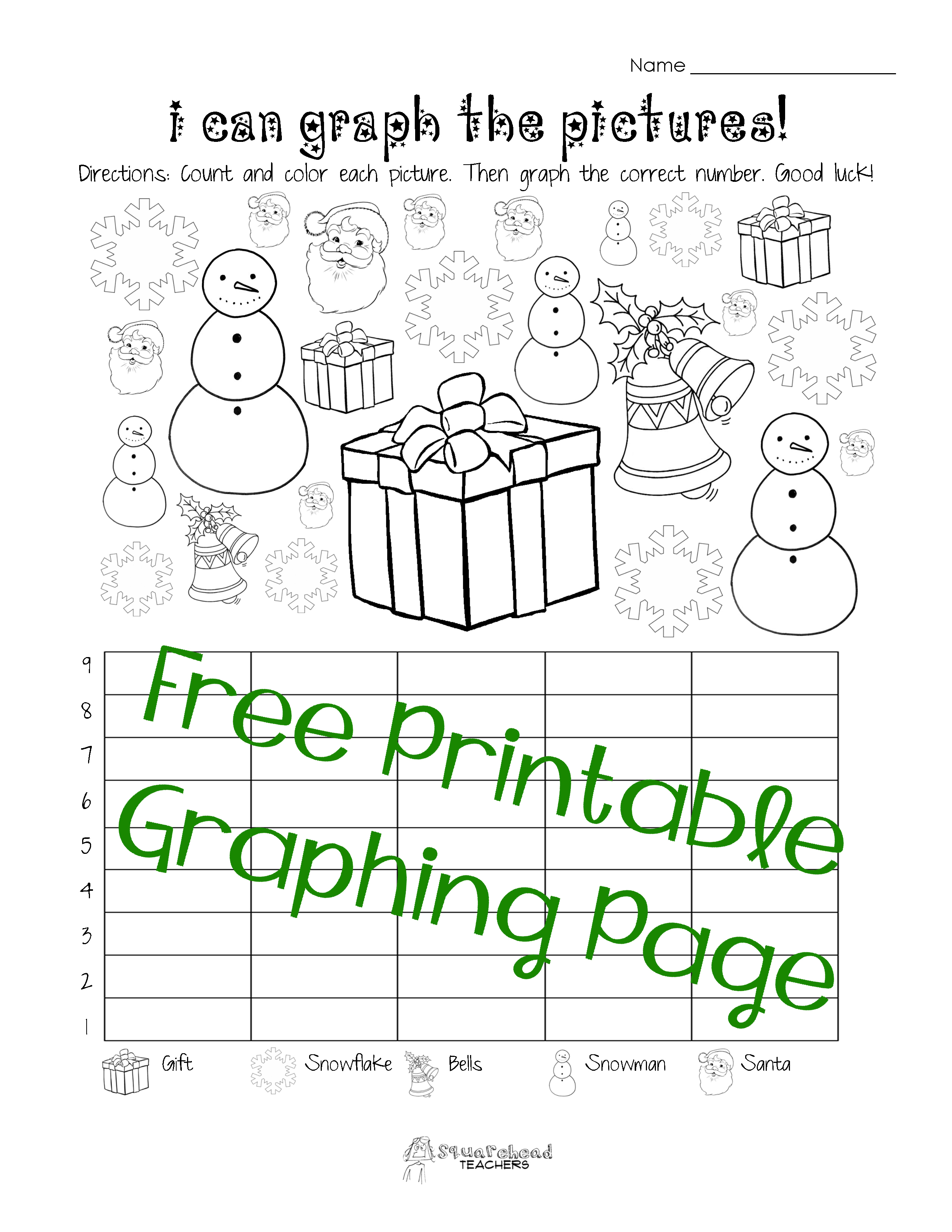 Free Christmas/Winter Graphing Worksheet (Kindergarten, First ...