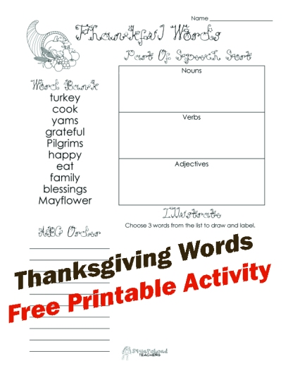 Thankful words sticker
