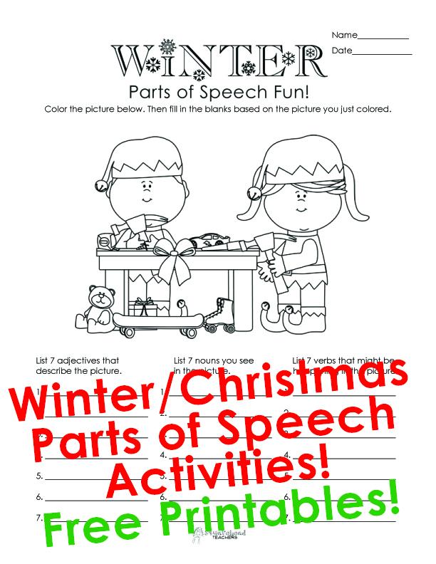 winter parts of speech activity for kids squarehead teachers