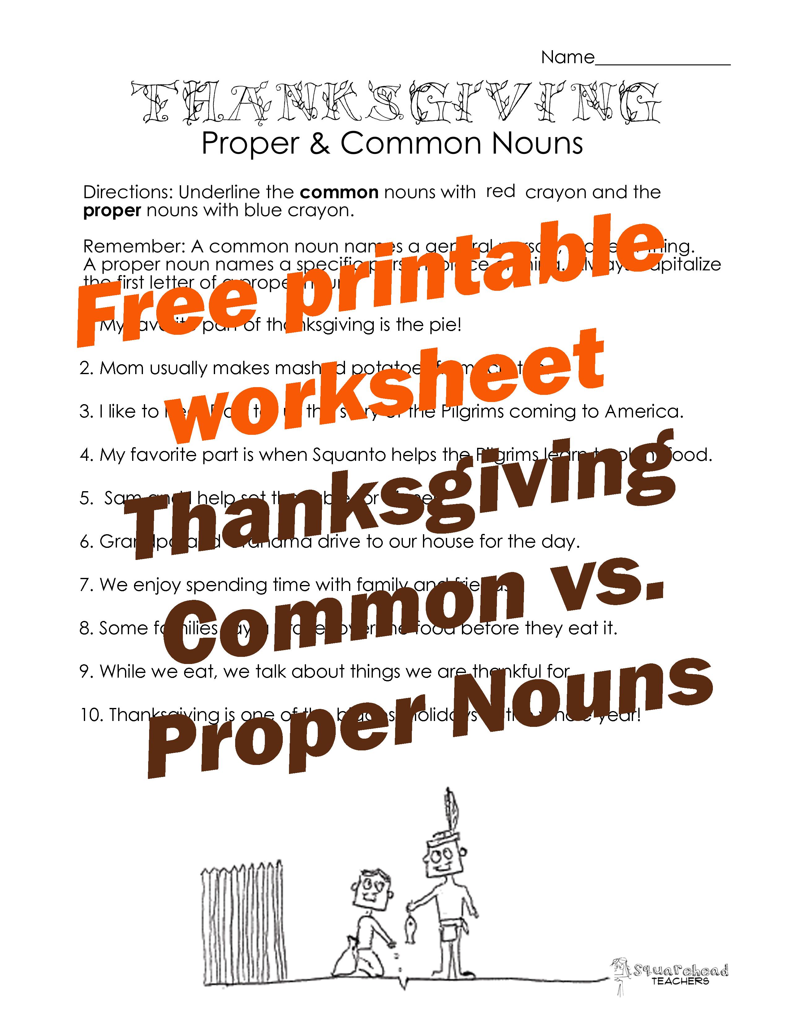 thanksgiving common vs proper nouns worksheet 2 squarehead teachers