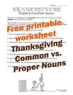 Thanksgiving common vs proper nouns 2 STICKER