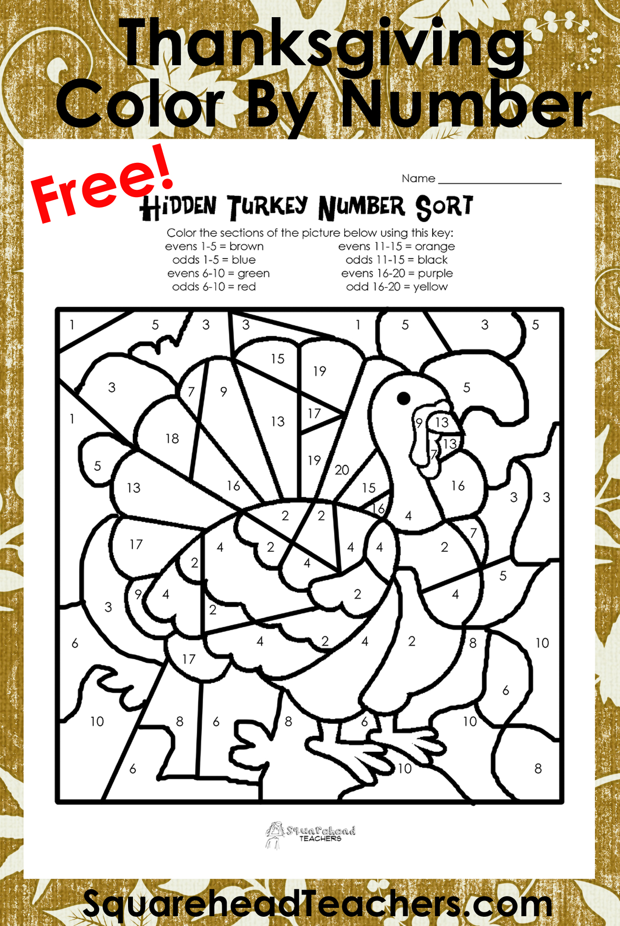 Thanksgiving Coloring Worksheet : Thanksgiving color by number odd evens sort squarehead