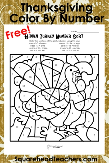 Thanksgiving Color By Number Addition Printables