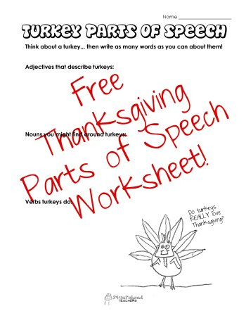 Turkey Parts of Speech sticker