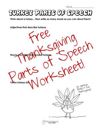 Turkey Parts of Speech sticker