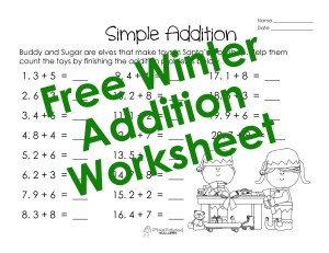 Adding- single digits- Winter-  full page STICKER