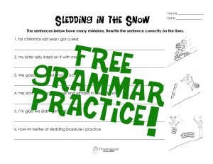 Sledding in the Snow- grammar practice STICKER