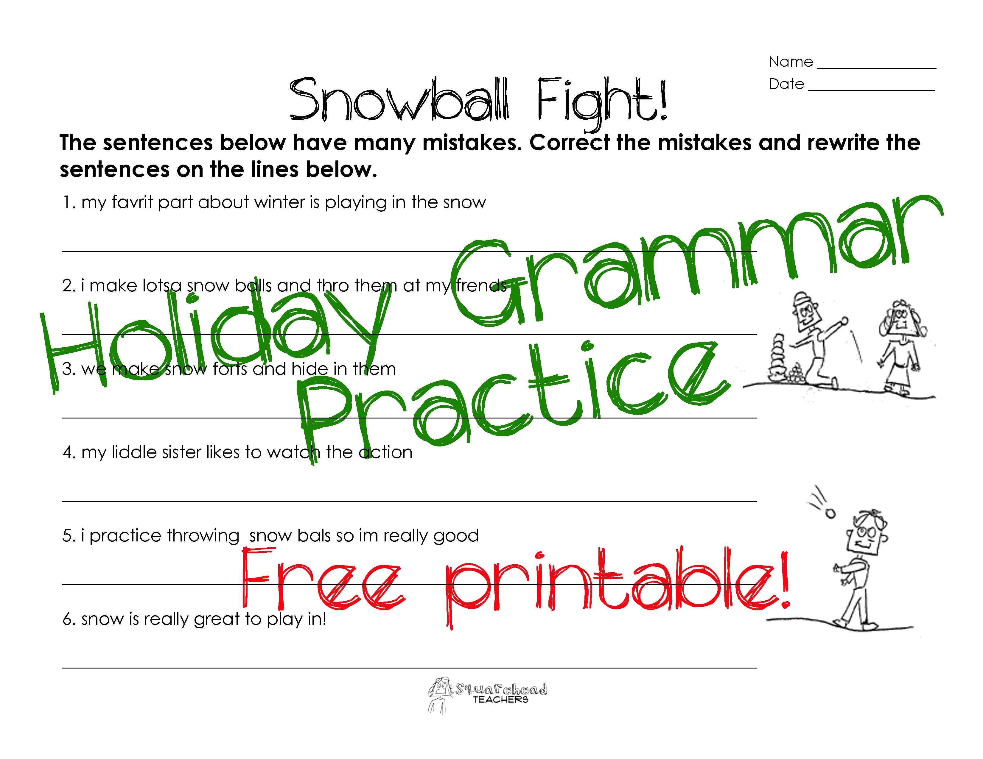 worksheet Christmas Grammar Worksheets snowball fight grammar worksheet squarehead teachers sticker