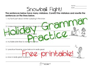 snowball fight- grammar STICKER