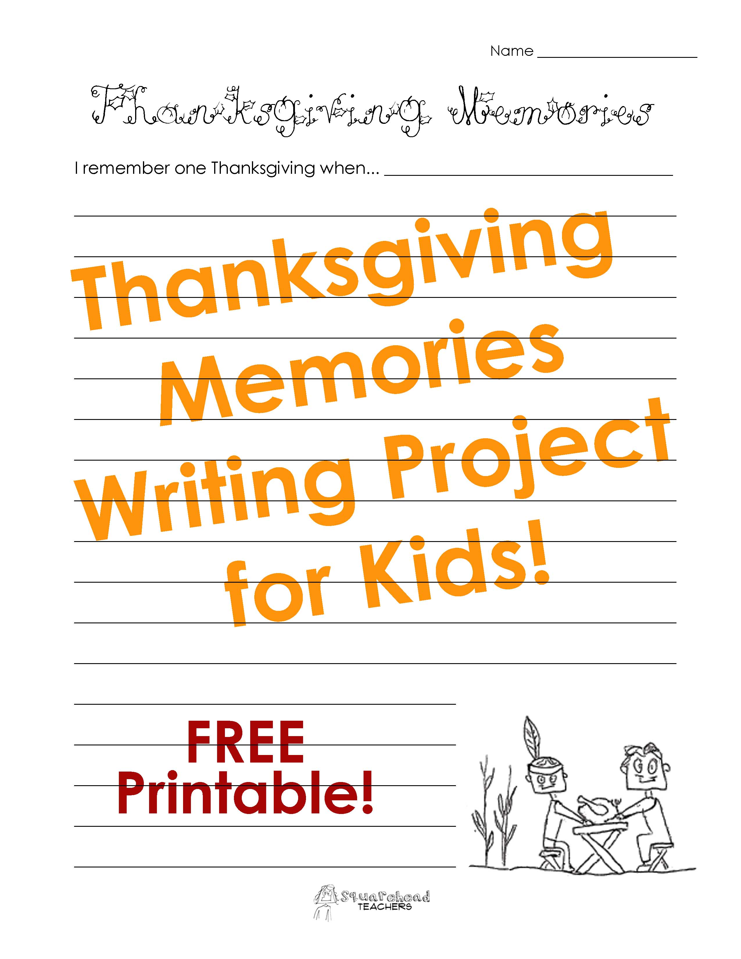 writing prompts squarehead teachers thanksgiving memories picture sticker