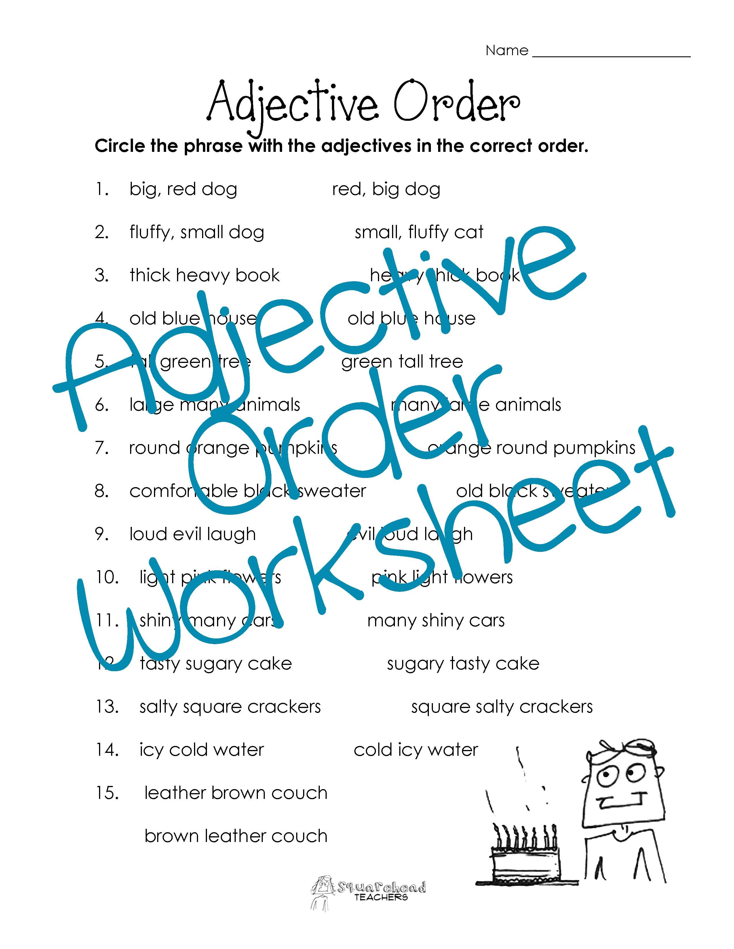 35 FREE ESL Adjectives: Order of adjectives worksheets