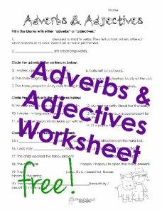 Adverbs adjectives sticker