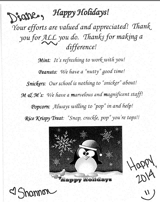 Candy Thank You Notes For Teachers  Staff  Squarehead Teachers