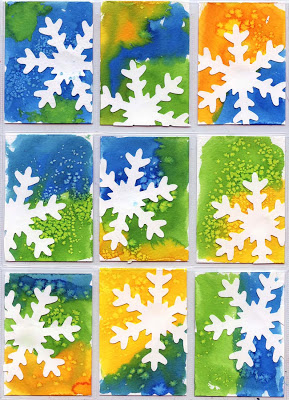 Snowflake Art Trading Cards I Found This Gorgeous Activity As Well A Number Of Other Great Ideas On Squarehead Teachers These Are Made Using Watercolor