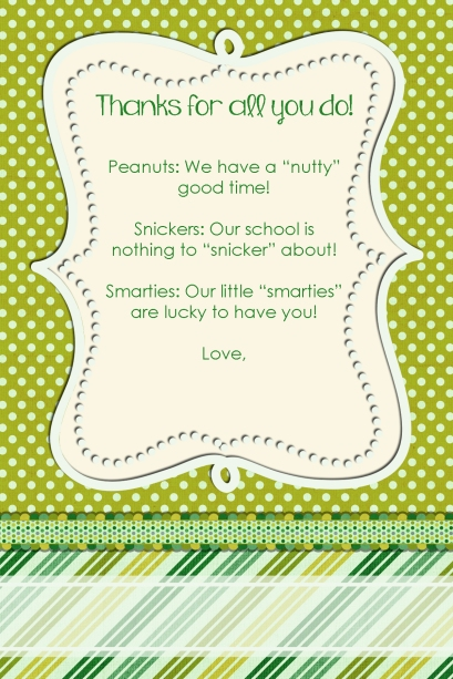 Green candy thank you notes