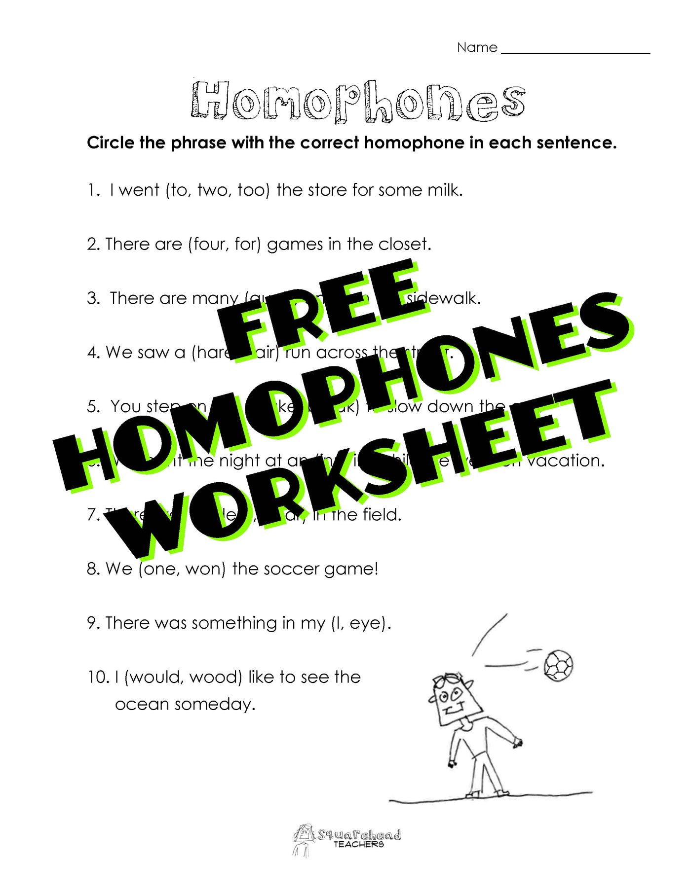 Homophones Worksheet – To Too Two Worksheet