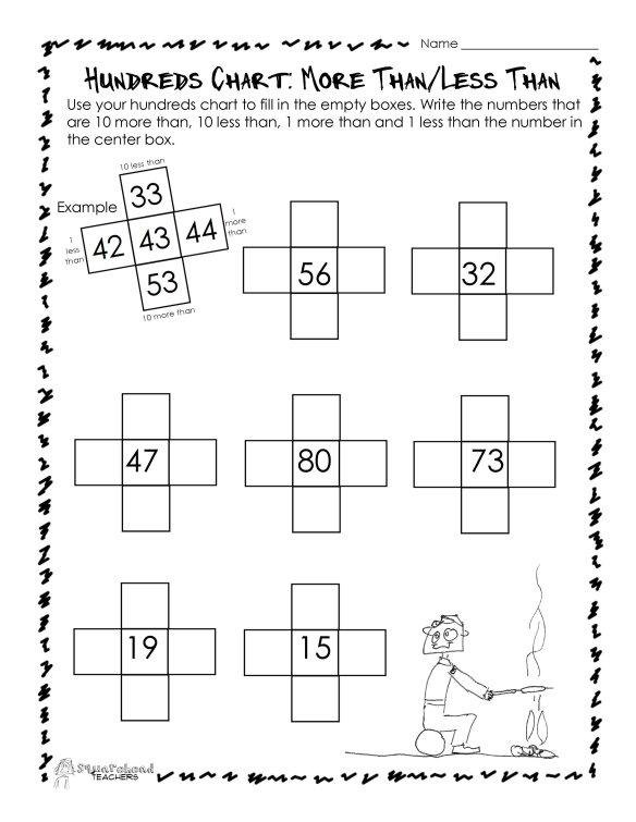 hundreds chart more than less than worksheet squarehead teachers. Black Bedroom Furniture Sets. Home Design Ideas