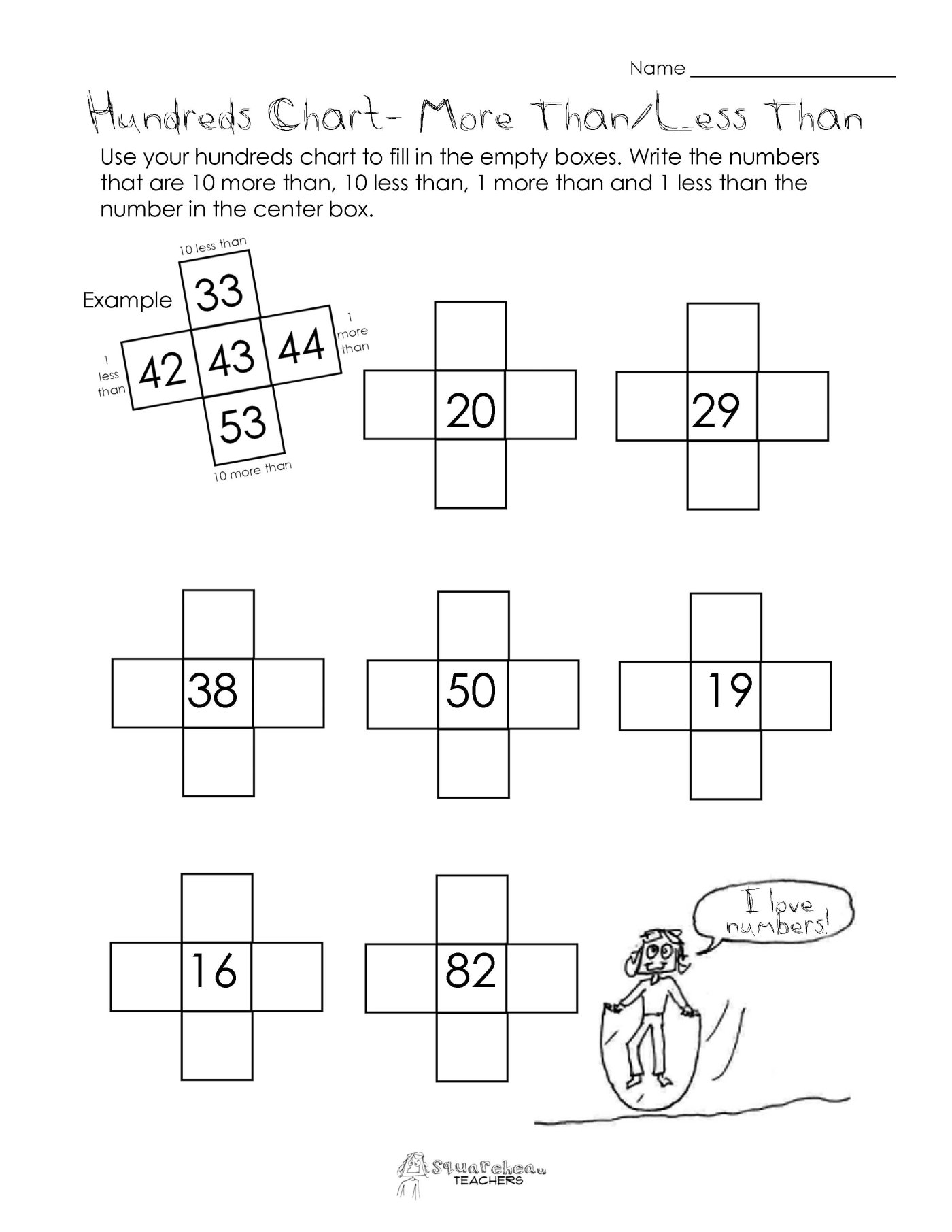 worksheet Greater Than Less Than Fractions Worksheets 10 more than10 less than hundreds chart worksheet squarehead teachers