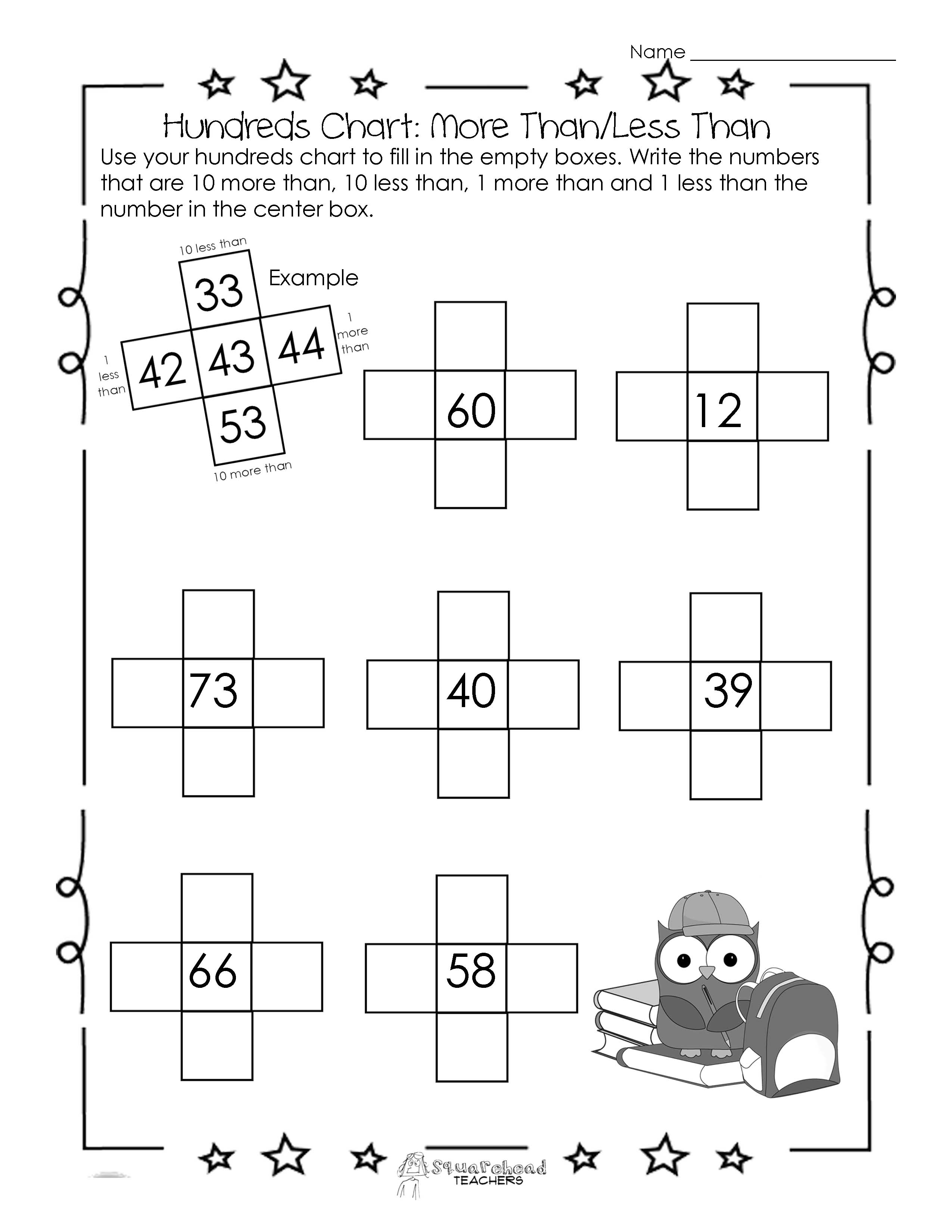 Hundreds Chart Worksheet: 10 More Than/10 Less Than | Squarehead Teachers