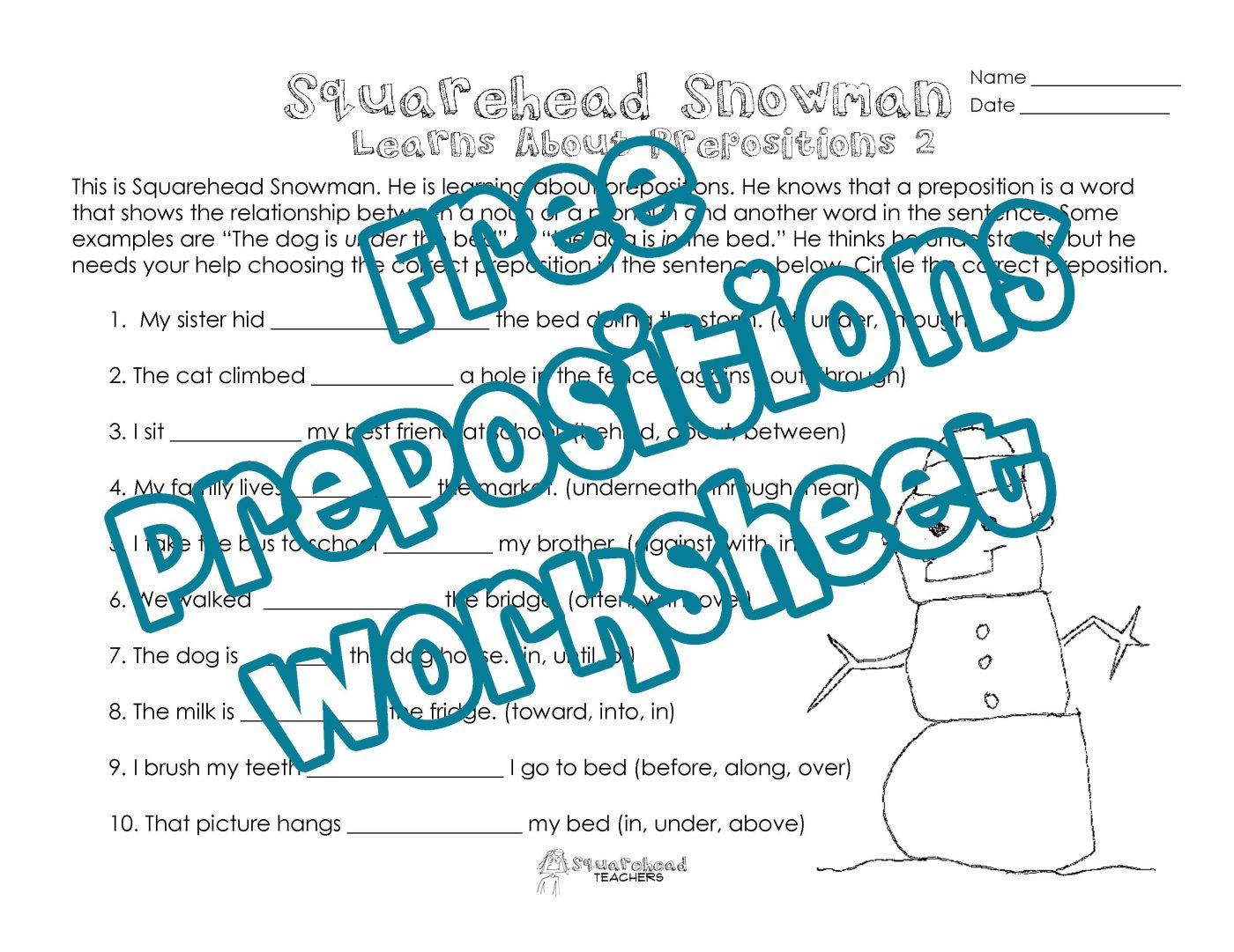 worksheet Prepositions Worksheet Pdf squarehead snowman prepositions practice 2 teachers