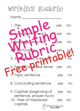 Writing Rubric STICKER