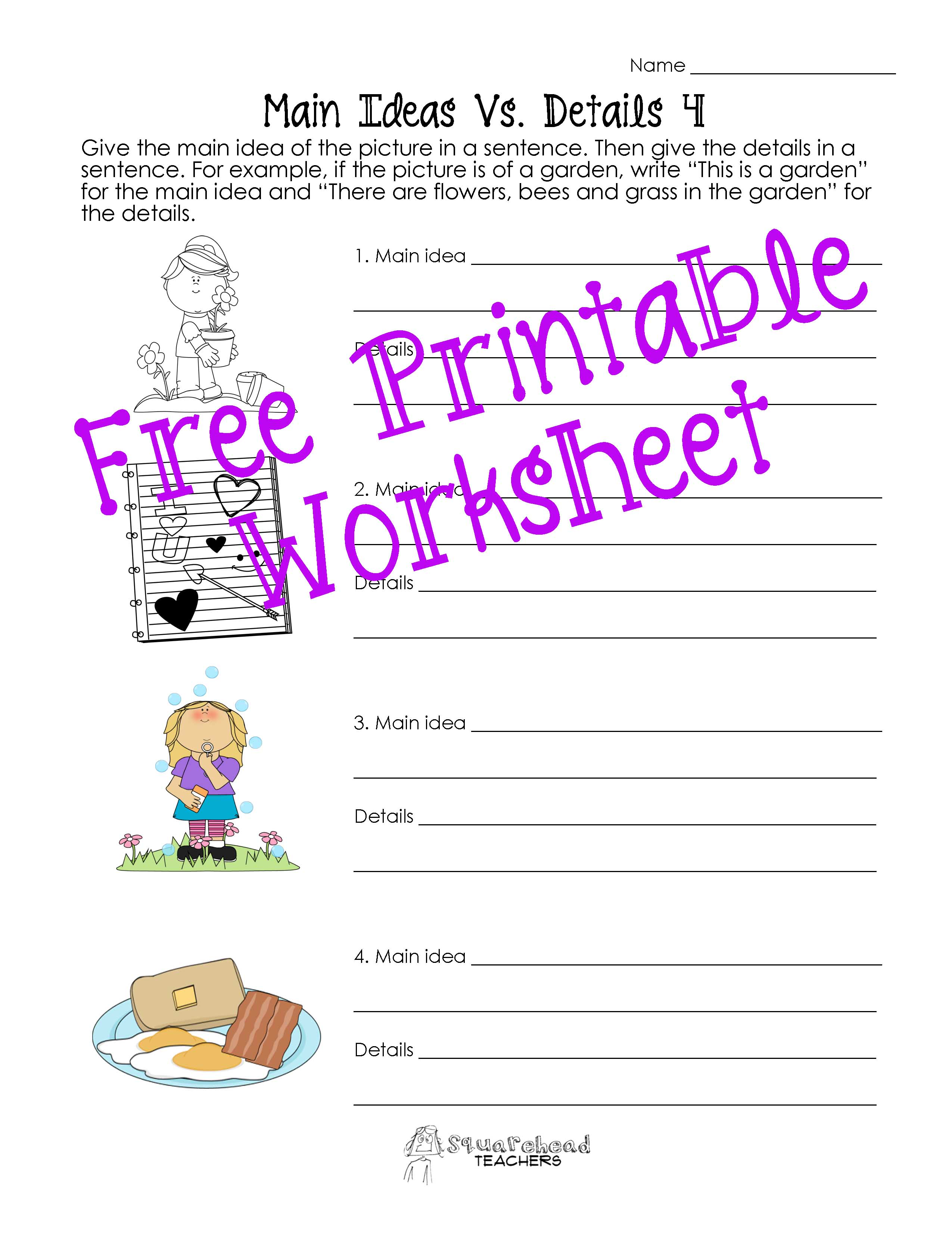 Pictures Main Idea Worksheets Grade 2 pigmu – Main Idea Worksheets 4th Grade