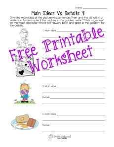 Main ideas and details worksheet STICKER 2