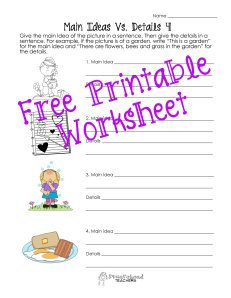 Main ideas and details worksheet STICKER 2