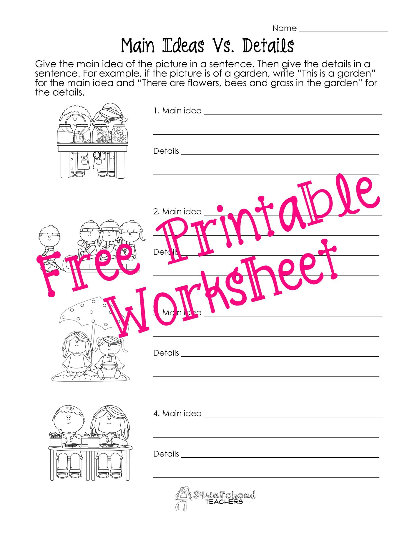 worksheet Free Main Idea Worksheets main idea vs details worksheets squarehead teachers