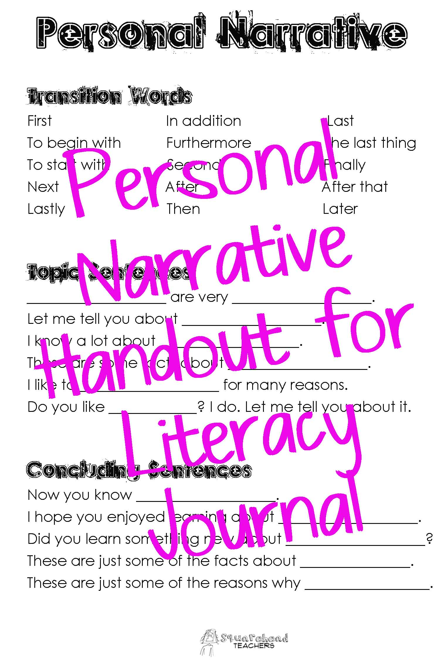 "personal narrative essay starters 6th and 8th grade teachers from teaching the narrative essay as well  ""because  we will be writing personal narratives i want you to remember that you are."