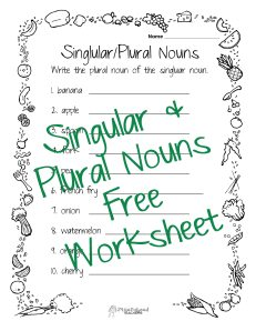 singular-plural nouns food STICKER