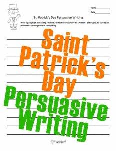 St Patrick's Day Persuasive Writing STICKER