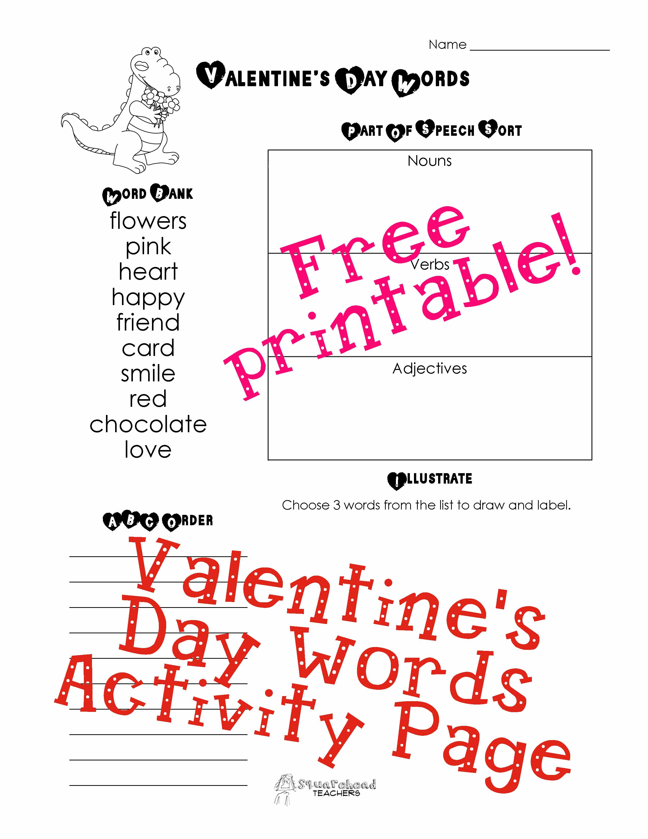 Valentine Word Activity Page Copy