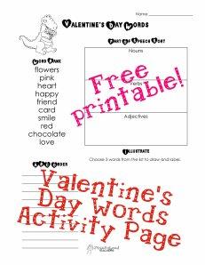Valentine word activity page copy