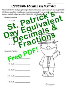 Leprechaun Decimals & Fractions STICKER