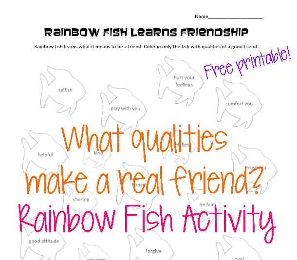 Rainbow Fish u2013 Friendship Activity : Squarehead Teachers