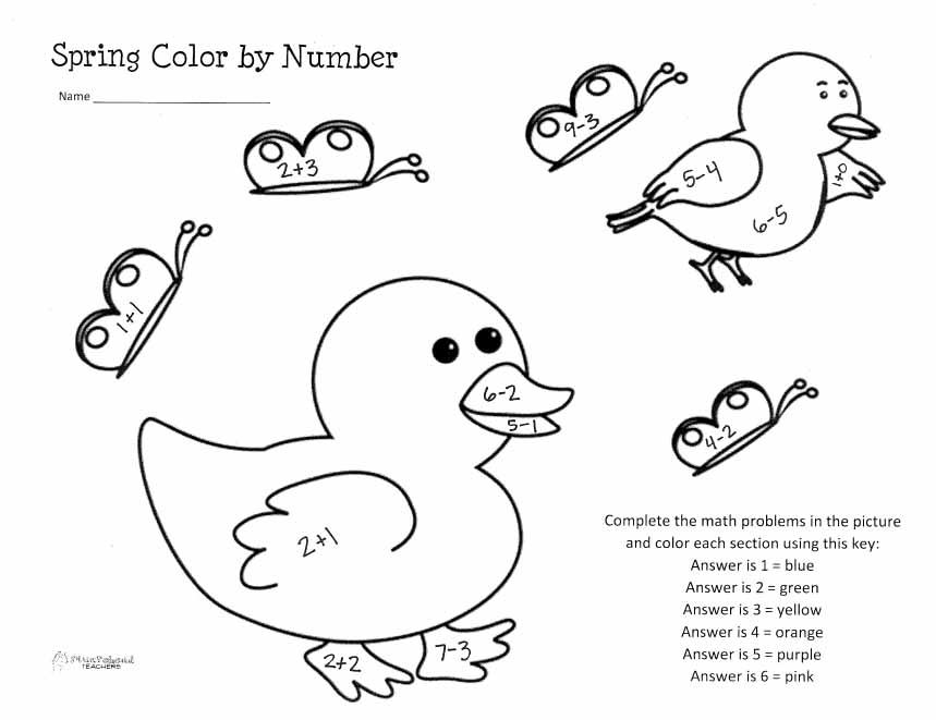 Easy Subtraction Color By Number Worksheets addition and – Color by Number Addition and Subtraction Worksheets