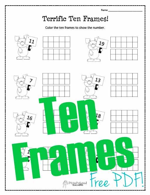 math worksheet : spring ten frames worksheet!  squarehead teachers : Ten Frame Worksheets Kindergarten