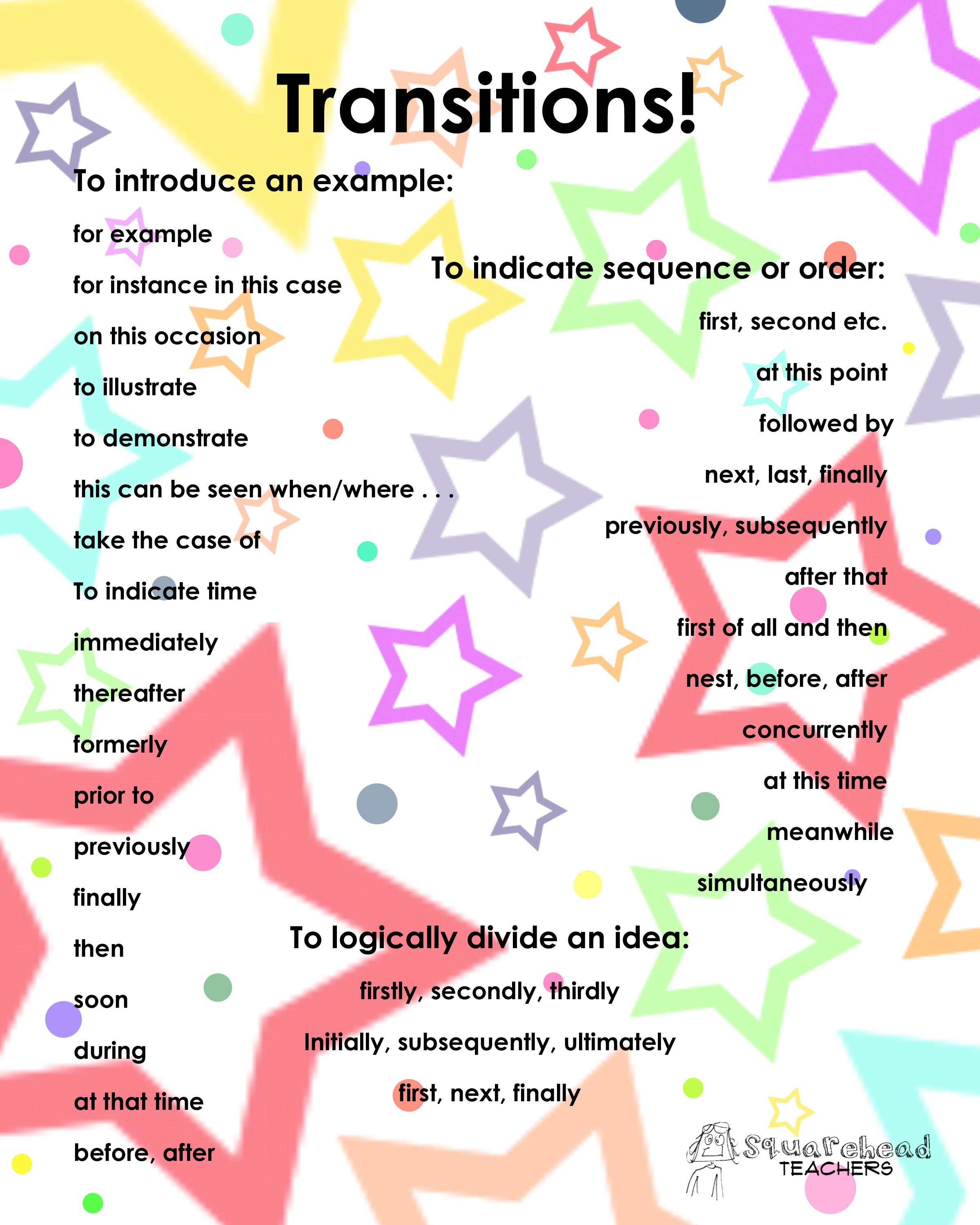 transition list co transitions list poster squarehead teachers