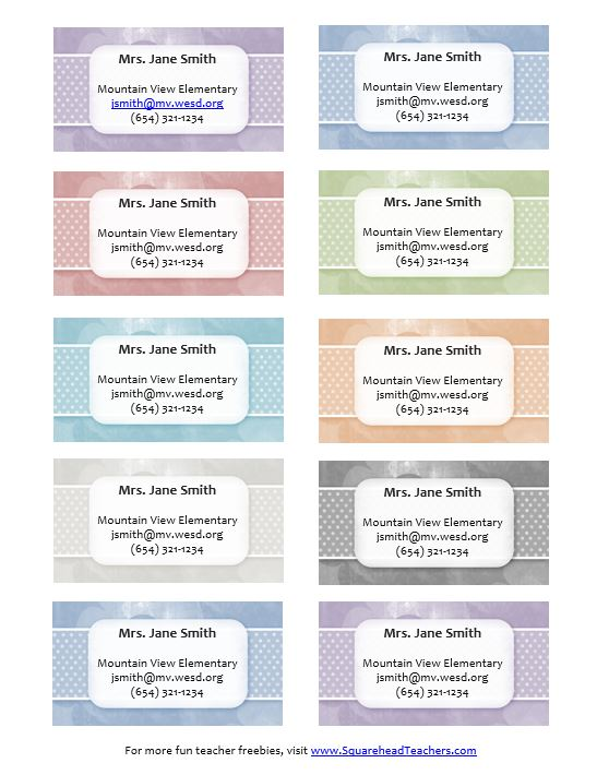 Teacher Contact Cards STICKER