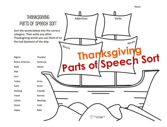 Thanksgiving Parts of Speech Sort STICKER