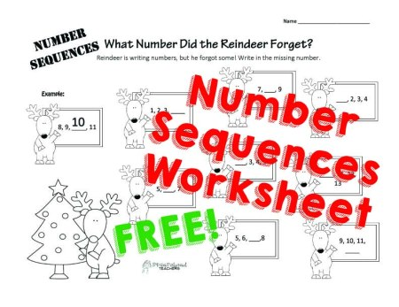 Holiday Number Sequences STICKER