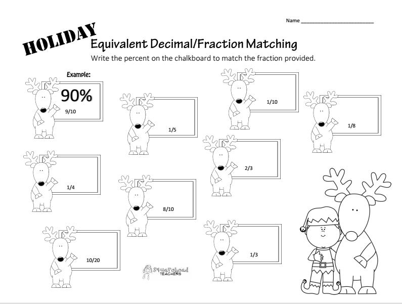 Holiday Equivalent Fraction-Percent Worksheet Squarehead Teachers