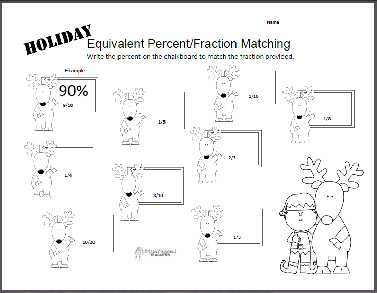 Holiday Equivalent Fraction Percent Worksheet Squarehead
