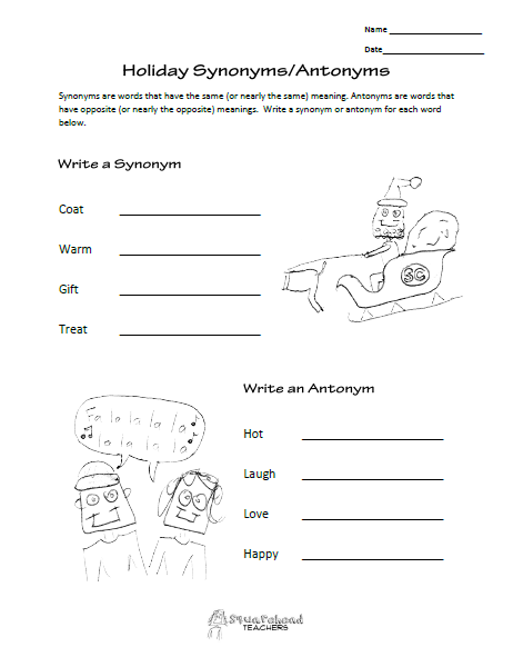 Holiday Synonyms And Antonyms Worksheet Squarehead Teachers